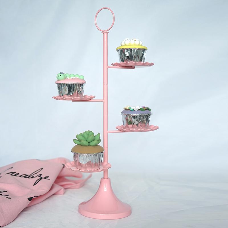 European metal cake stand wedding props pink dessert frame cupcake display dessert plate cake plate