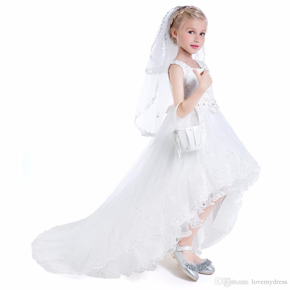 2305660c3cb5 Elegante abito da sposa 2018 bambine vestito di prima comunione bambina ...