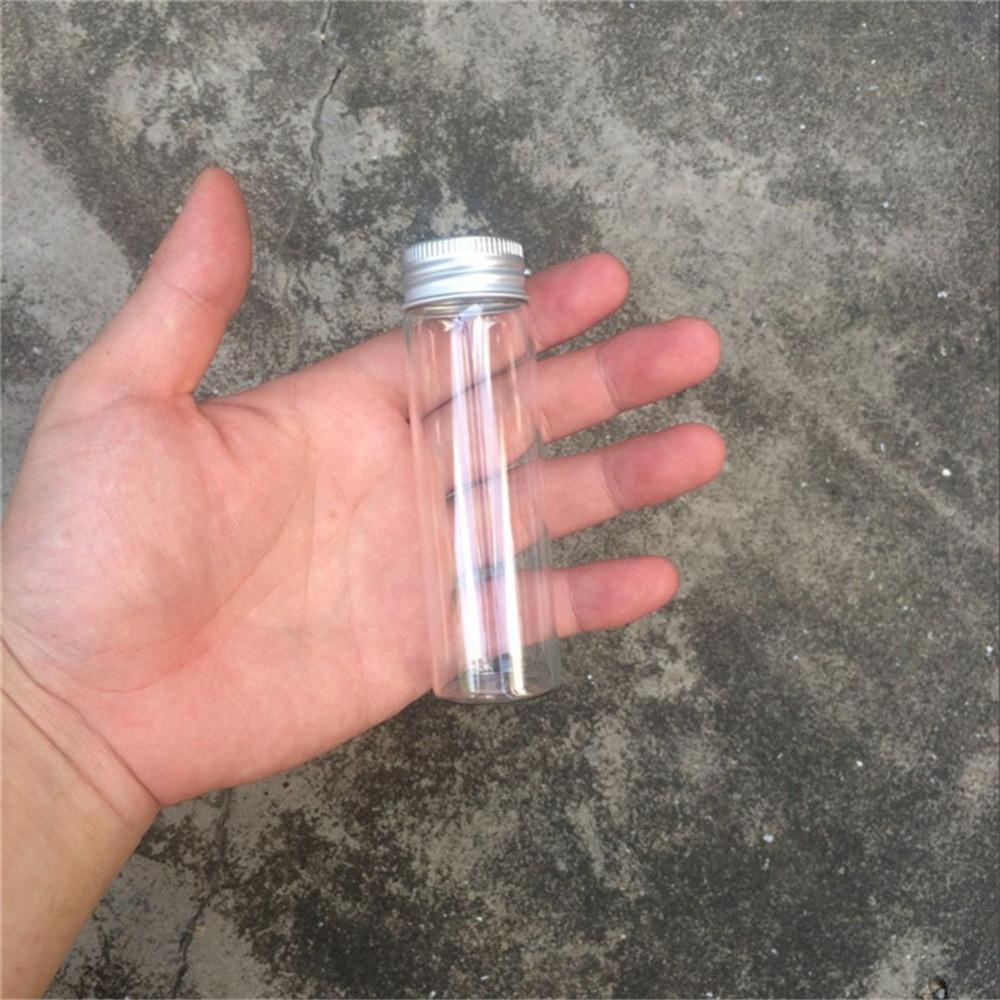 50ml Glass Bottles Aluminium Lid Perfume Liquid Container Empty Transparent Clear Gift Wishing Bottles Jars2