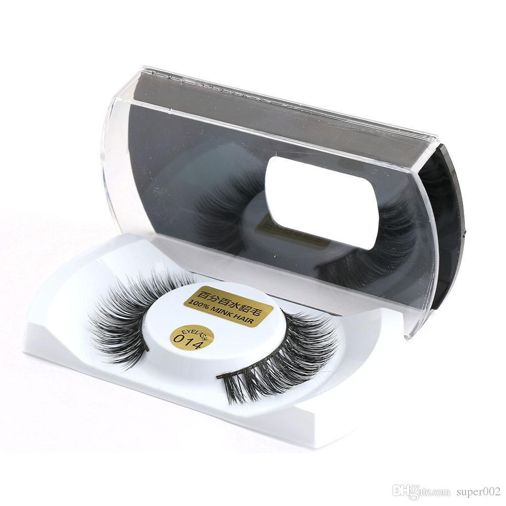 1 Par 100% Real Mink Natural Grosso Falso Cílios Postiços Eye Lashes Maquiagem Extensão Beleza Ferramentas QLM