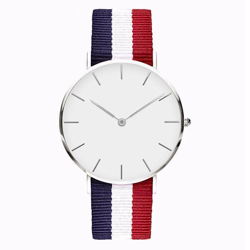 Fashion men women unisex NO GENEVA LOGO Platimum Nylon Fabric watch sport thin wrist Canvas quartz students lady dress watches