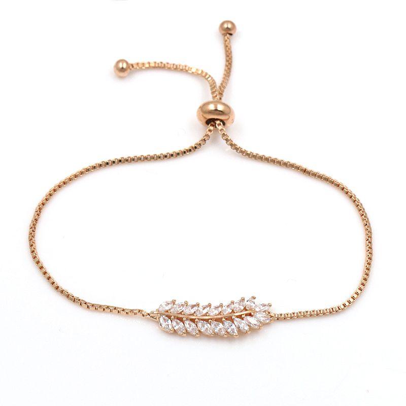 Clear Cubic Zirconia Leaf Design CZ Adjustable Bracelet For Women or Wedding in Silver or Gold Colors