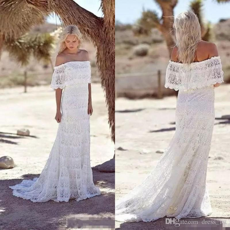 Hot Sales Summer 2018 Full Lace Bohemian Wedding Dresses Off Shoulder Flounce Neckline Cheap Boho Hippie Bridal Wedding Gowns Plus Size