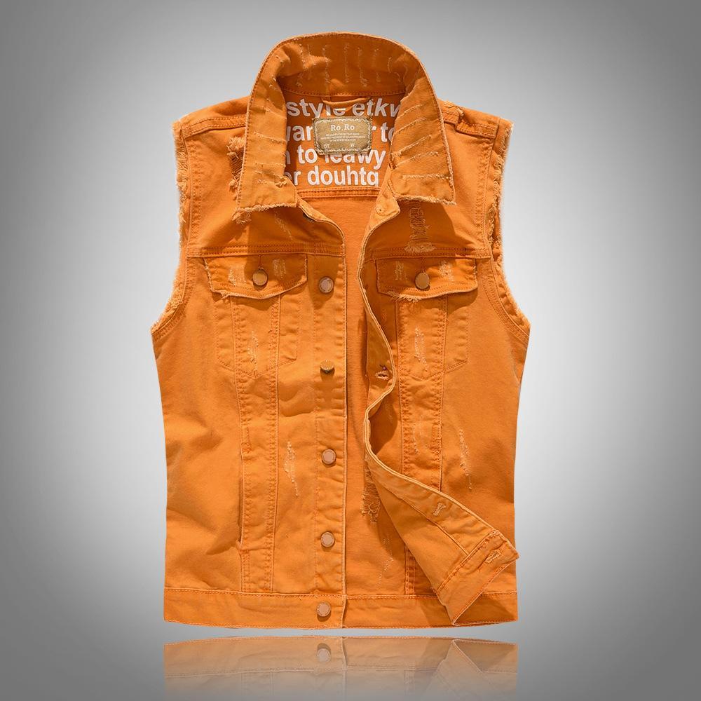 6 Renkler Yeni Marka Erkek Denim Vest Vintage Kolsuz Yıkanmış Jeans Yelek Erkek Slim Fit Yelek Kovboy Ceket 4XL yırtık