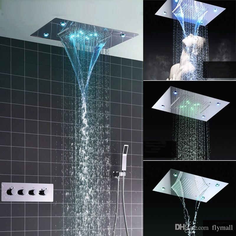 Shower System Double Waterfall Rainfall Large Ceiling LED Rain Shower Head Recessed Automatic Color Change Thermostatic Tap Shower Set