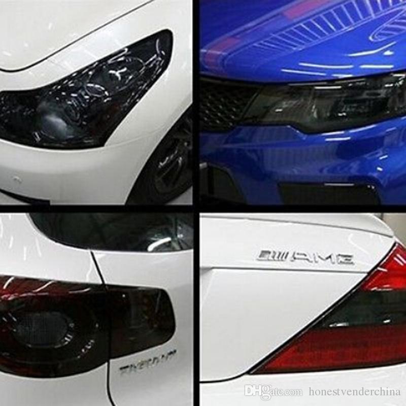 자동 자동차 헤드 라이트 미등 색 변화 매트 블랙 후면 램프가 반짝이 연기 색조 필름 포장 비닐 스티커 스타일링 액세서리