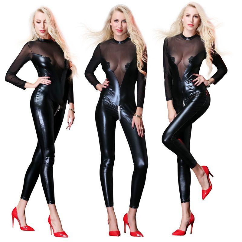 Sexy Latex Bodysuit das Mulheres Trajes Locomotiva Zíper Frente Para Bar Clubwear Stripper Partido Fantasia