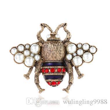 الكريستال الملابس بروش الرجعية لطيف النحل اللؤلؤ دبوس سبيكة الأحجار الكريمة بروش أوروبا الولايات المتحدة الأزياء النحل دبابيس مجوهرات للنساء هدايا بقعة