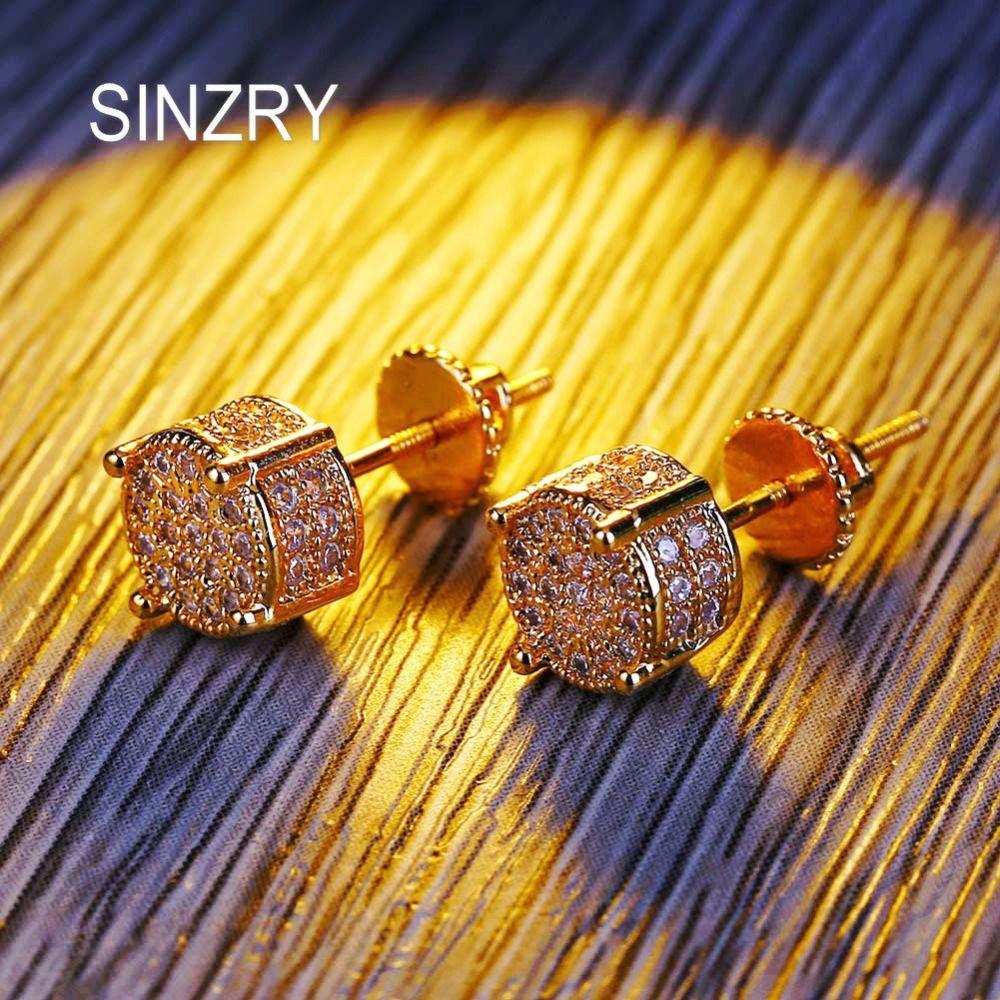 Atacado cor de ouro 7mm cubic zirconia rodada stud brincos hip hop parafuso brincos na moda clássico homens jóias presente