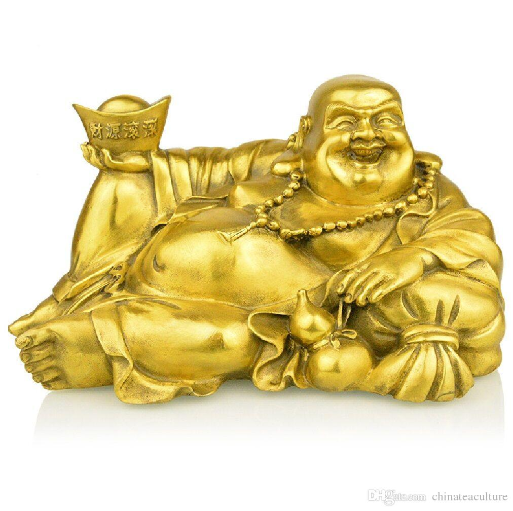 Chinese old feng shui decorate bronze Money Buddha
