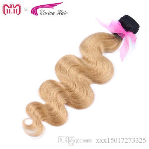 Brazilian Body Wave Ombre Honey Blonde Hair Weft 1PCS T1B/27# Human Hair Bundles 8-28inch Remy Hair Free Shipping