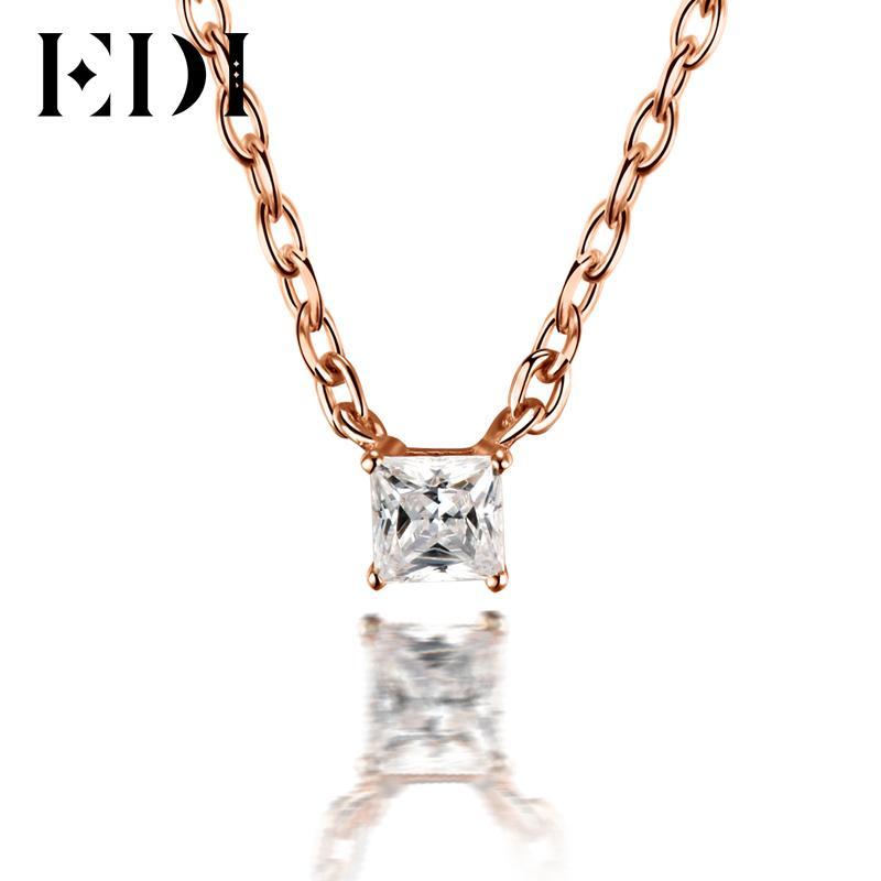 EDI классический 0.1 ct Принцесса вырезать натуральный алмаз свадебный кулон для женщин 18k твердых розовое золото кулон 16 ' ожерелье цепь ювелирных изделий S923