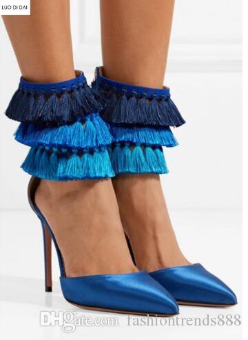 2018 Nuevas mujeres de la llegada bombas zapatos de tacón delgado azul borla bombas punta del dedo del pie flecos zapatos de vestir de tacones altos