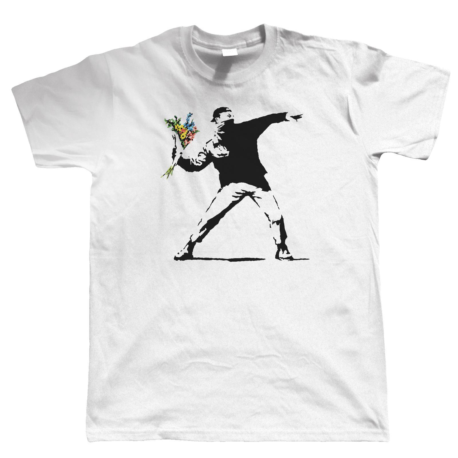 Banksy Çiçek Atıcı Erkek T Shirt-Graffiti Kentsel Sanat Tarzı Serin Rahat Gurur T Gömlek Erkekler Unisex Yeni Moda Tshirt Tops
