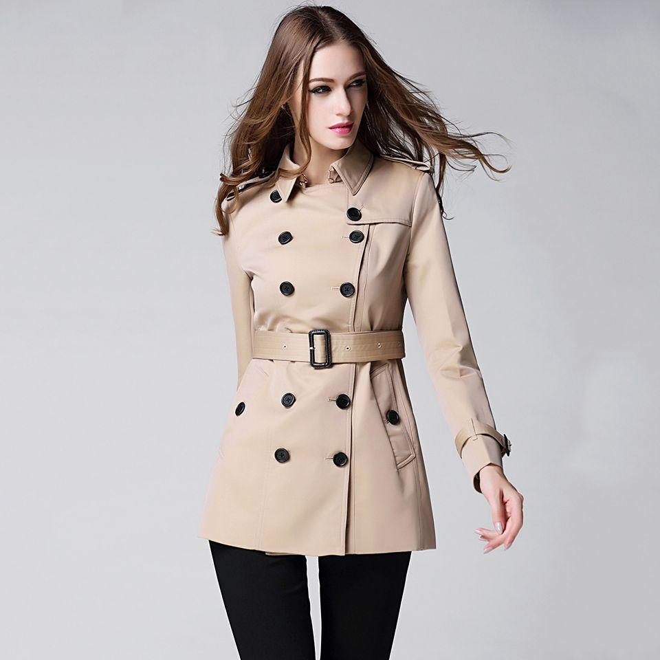 العلامة التجارية خندق معطف المرأة 2017 النمط البريطاني مزدوجة الصدر معطف تصميم خندق قميص الشتاء أنيقة الإناث معطف