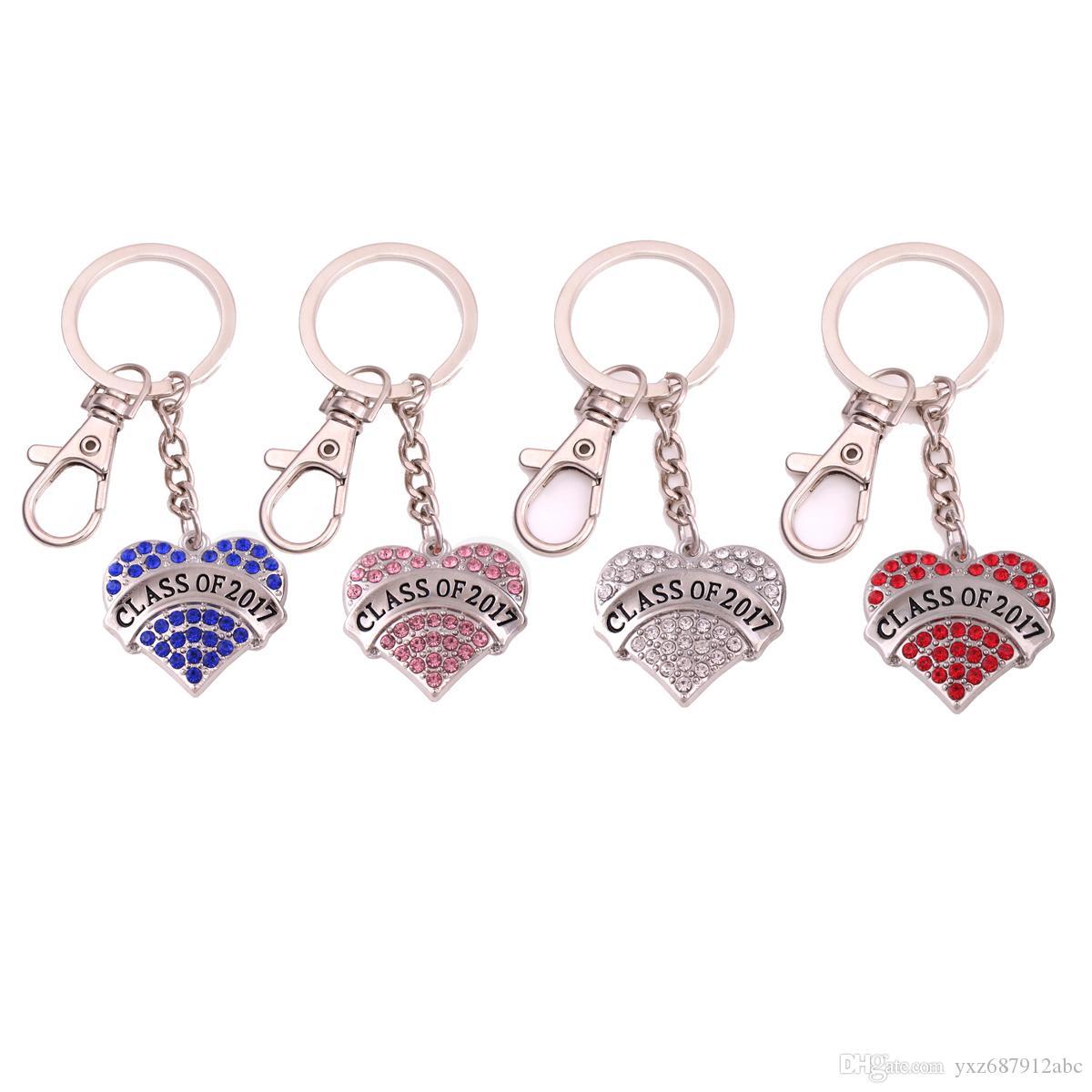 Moda portachiavi per le donne a forma di cuore cristalli scintillanti Class Of 2017 Charm Pendent Grande regalo di compleanno Drop Shipping
