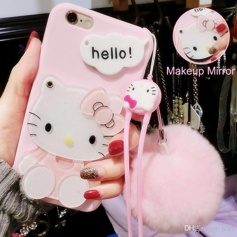 8d178bb92 Cute 3D Hello Kitty Cat Cartoon Case for Iphone X 7Plus Soft TPU Back Cover  Makeup Mirror Hang Rope With Fur Ball Case
