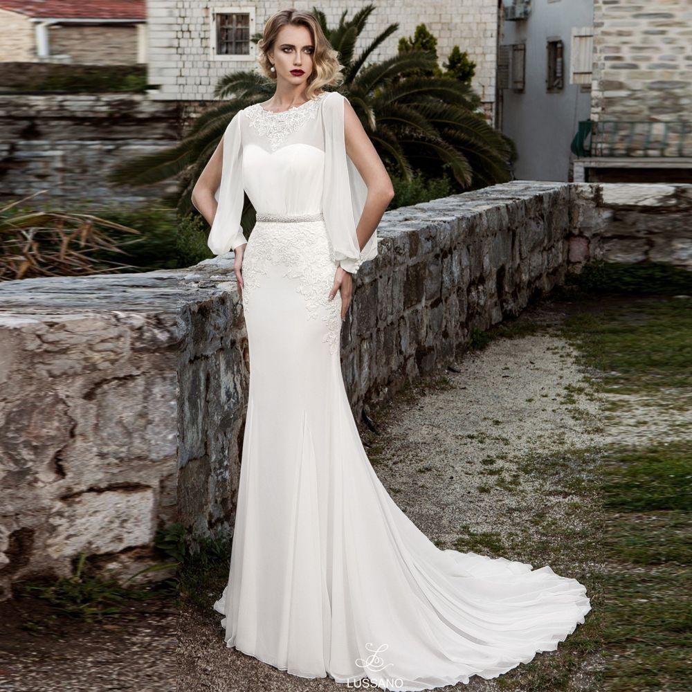 Großhandel Elegante Weiße Meerjungfrau Chiffon Abendkleider Jewel Neck  Lange Perlen Schärpe Formale Kleid Hohlkreuz Sweep Zug Roter Teppich  Kleider
