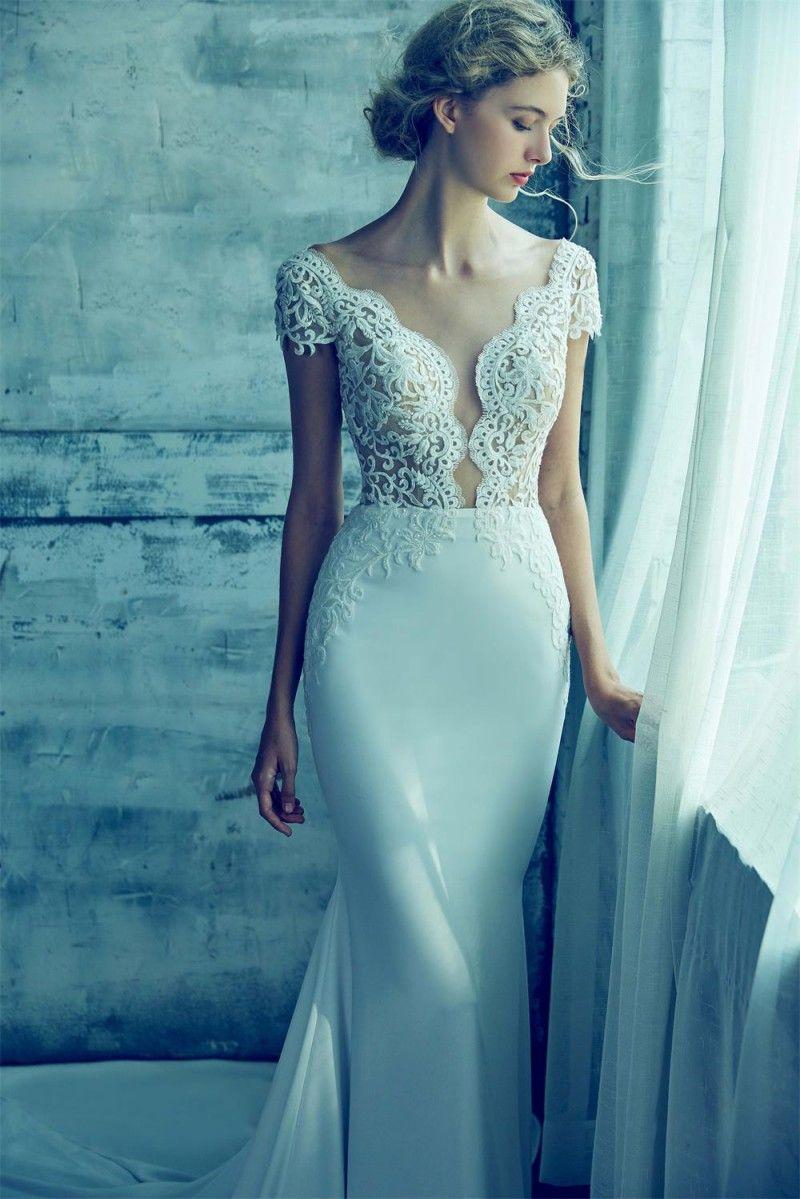 Lamour Beach Mermaid Wedding Dresses Deep V Neck Lace Appliques ...