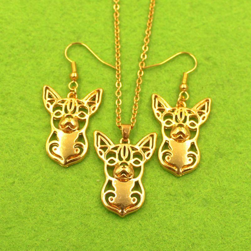 Mdogm Chihuahua Dog Animal Jewelry Sets Collana Orecchini pendenti Carino per le donne Moda femminile Matrimonio Natale T034