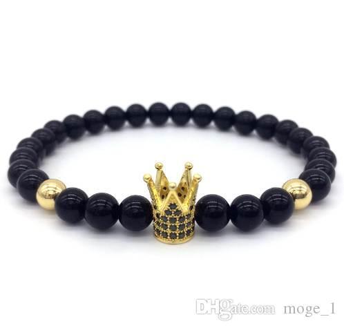 Новая мода Imperial Crown браслет Мужчины Камень Бисер для женщин Мужские ювелирные изделия Подарочные Pulsera HOMBRES