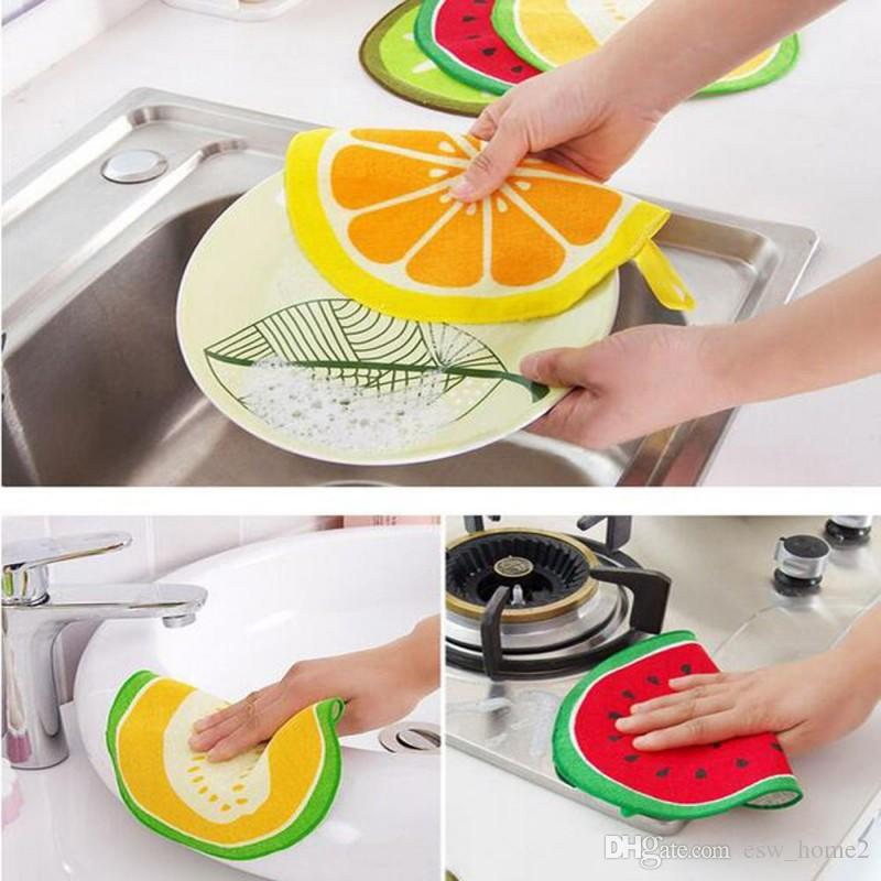 المطبخ الحمام استخدام الكرتون ستوكات مناشف التنظيف ماصة فاكهة طباعة تنظيف خرقة مسح منديل فاكهة طباعة منشفة اليد