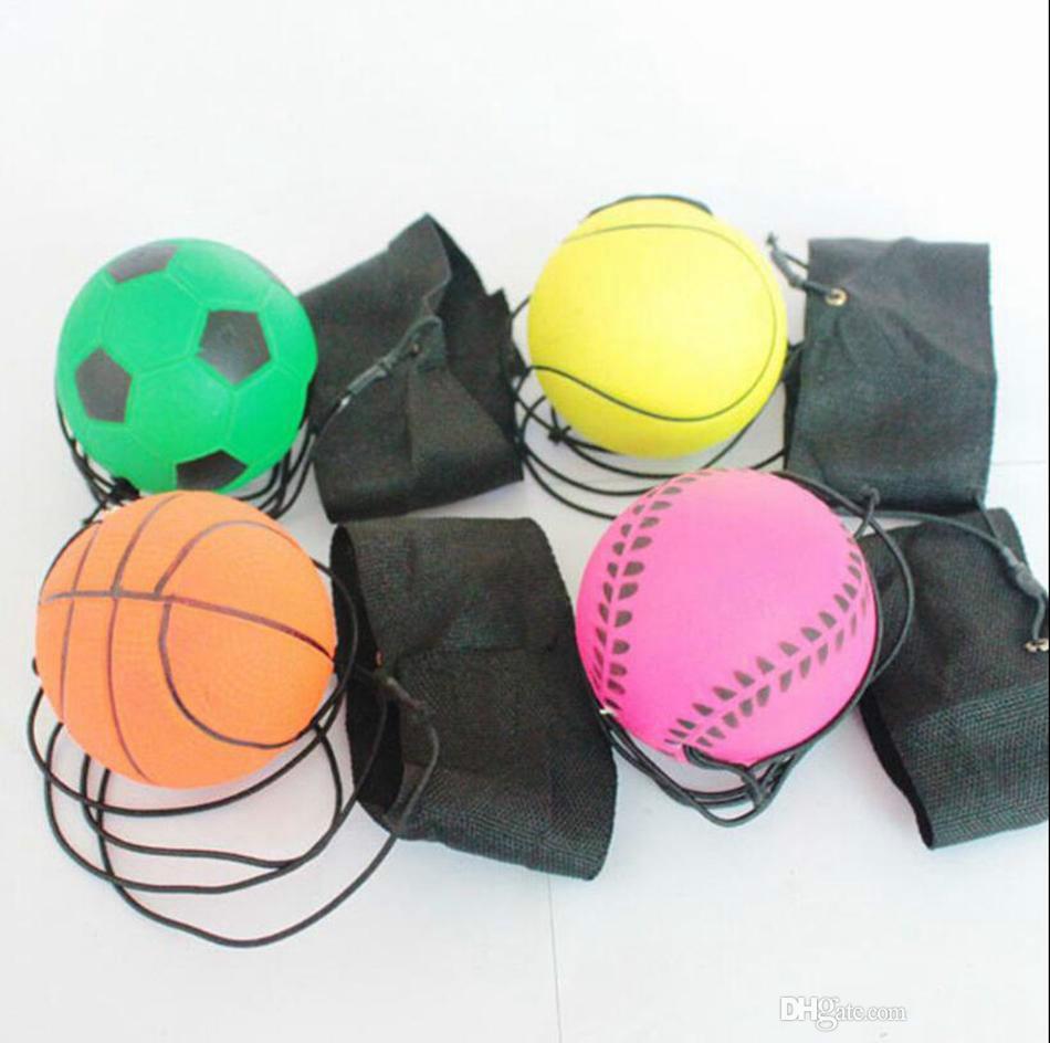 wholesale-63 millimetri palla rimbalzante elastica divertente fluorescente Rubber Ball Band Ball polso Consiglio gioco di formazione antistress giocattolo esterno Giochi OOA4870