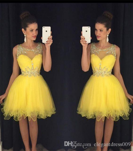 Bling Bling Yellow Mint Green Short Homecoming Dresses Sheer Neck Beaded Crystals Pleats Ruched Tiered Tulle Cocktail Gowns Formal Dresses