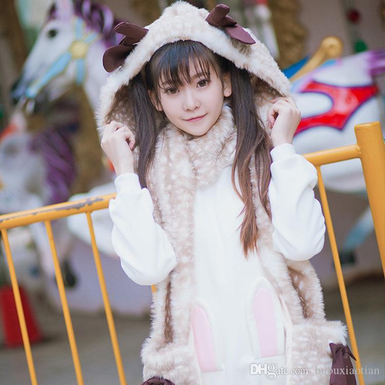 2018 Winter New Cute Girl Warm Plush Bib Deer Print Stereo Antler Scarf Full Of Headscarves