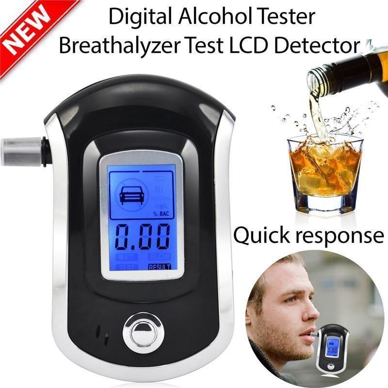 Profesyonel Araba Dijital Nefes Alkol Tester Alkol ile LCD Dispaly 5 Ağızlıklar Polis Araba Alkol Park Breathalyser Için