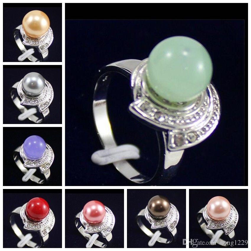 Perle di conchiglia del Mare del Sud graziose / Anello per gioielli con perle di giada tonda Misura 7 8 9