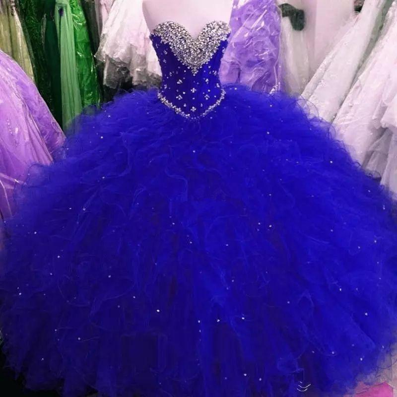 2018 Yeni Kraliyet Mavi Tatlı 16 Parti Debutantes Abiye Puf Tül Kristaller Sevgiliye Boyun Korse Geri 2017 Artı Boyutu Quinceanera Elbiseler Q62