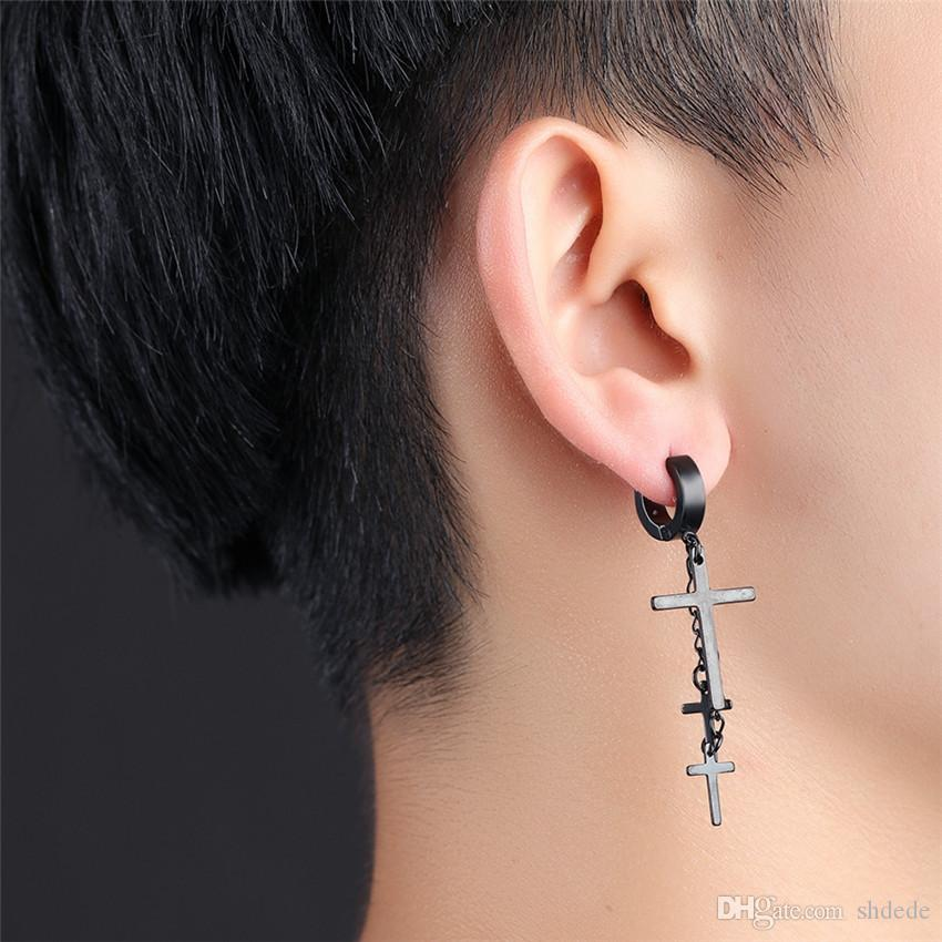 316l Edelstahl-Kreuz-Tropfen-Ohrringe für Männer Frauen Unisexpunk Vintage Mode Schmuck Accessoires OE423