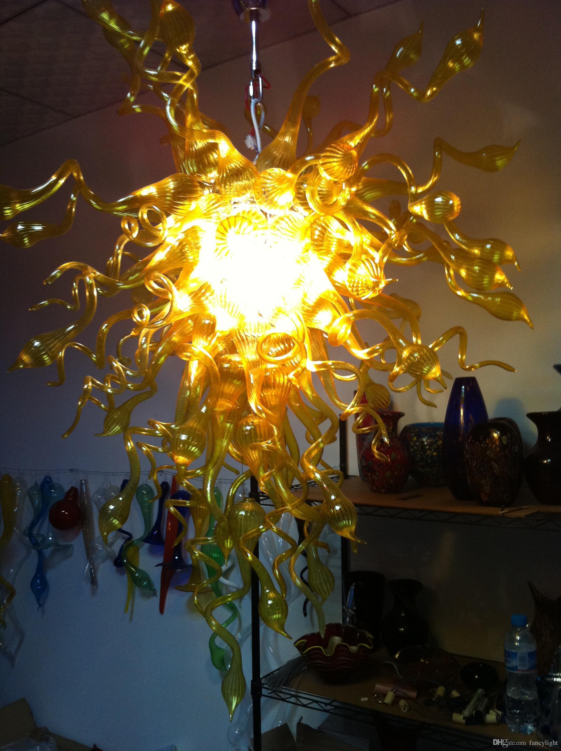 100% Boca Soprado Borosilicato Moda Luz Amarela Arte Contemporânea Decoração Dale Chihully Estilo Murano Lustre De Vidro