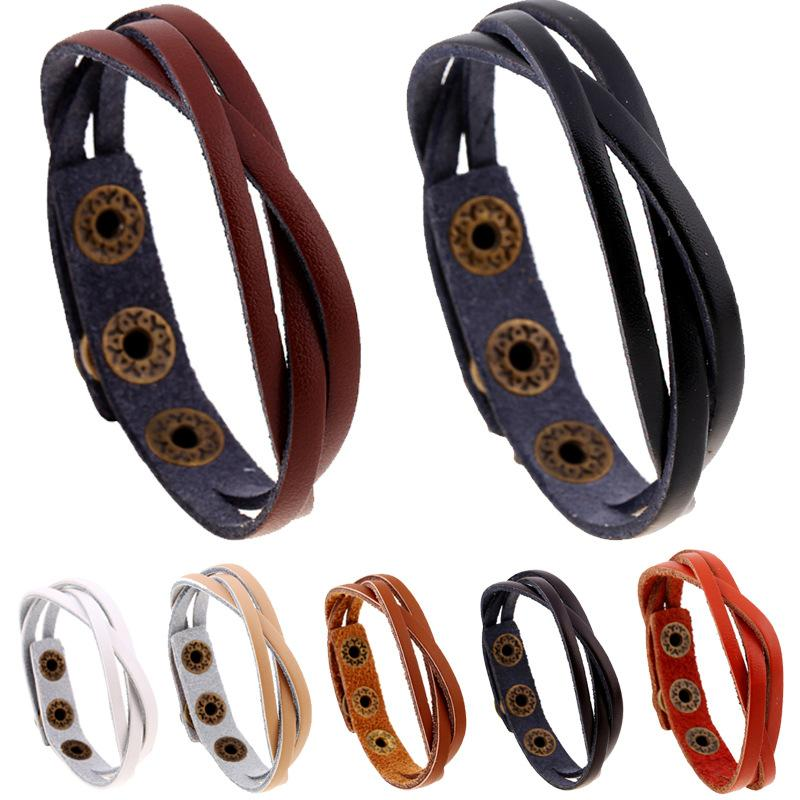 New woven leather bracelet wholesale multicolor fashion brown black white orange beige coffee men leather bracelet women gifts