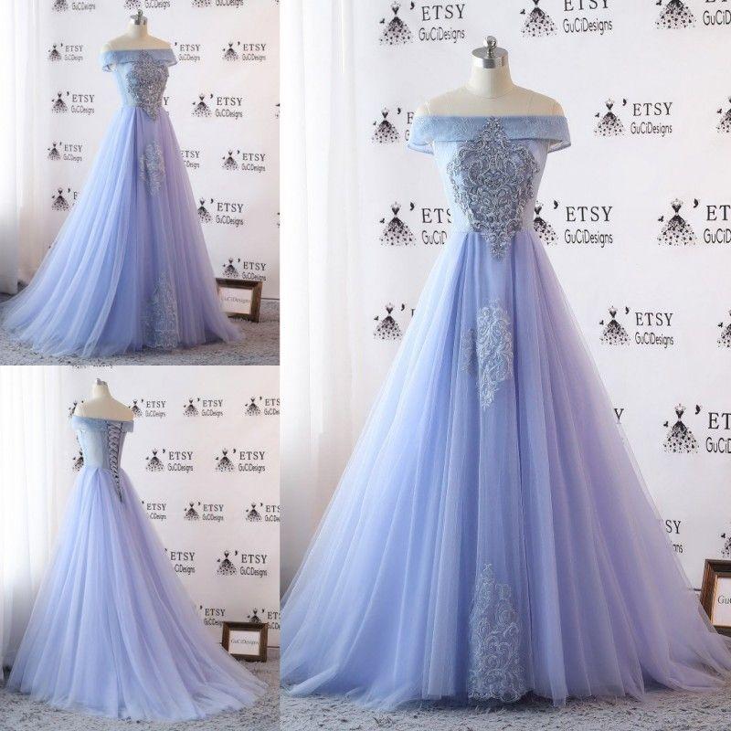 2018 Light Lavender Prom Dress Handmade Applique Sequins Off Shoulder Lace Up Back Evening Dresses Real Image