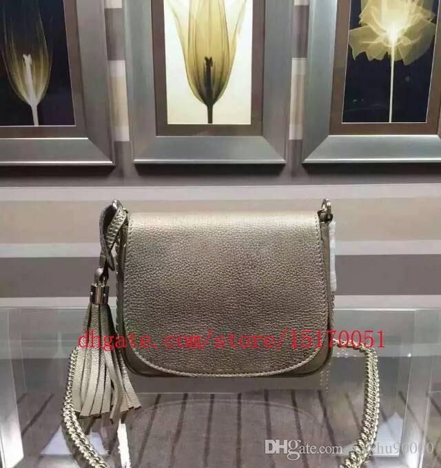 nouveaux sacs en cuir véritable femmes messager sac à bandoulière de haute qualité mini-sac de selle en cuir véritable chaîne avec pompon 323190