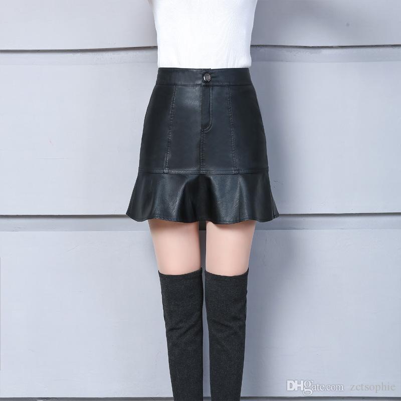 Falda atractiva de cuero de la PU Falda coreana Edición de falda de cintura alta Cultiva el espectáculo de moralidad Falda de sol delgada Falbala Vestido recreativo