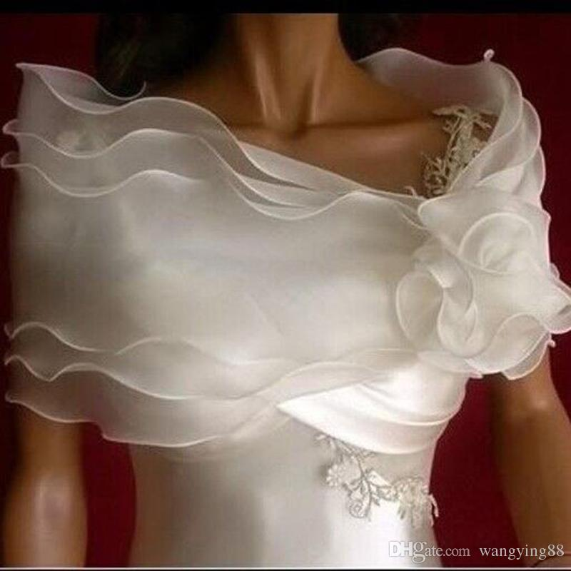 Romantik Kapalı Omuz Seksi Ucuz Beyaz Gelin Wrap Plaj Sheer Bahçe Düğün Gelin Ceket Ucuz Stok Düğün Şal