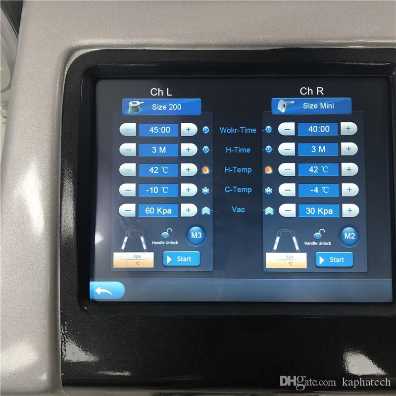 Cryotherapy fette einfrierende Maschine / Abnehmen Fettabsaugung Cryolipolysis Fett Gefriergerät mit vier Griffen, 100mm, 150mm, 200mm und Doppelkinn