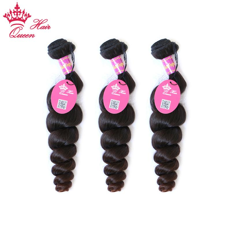"Queen Hair Blandade 3 st LOT Loose Wave Brasilian Virgin Hair Extensions Partihandel Naturfärg Tangle Gratis 12 ""-28"""