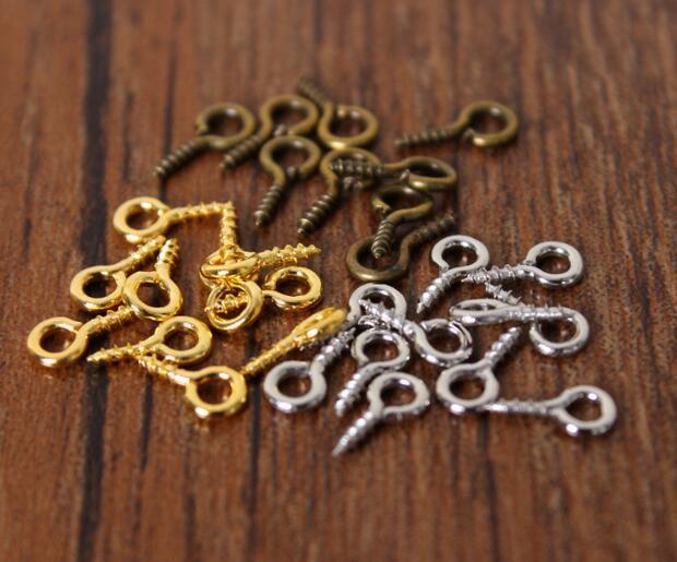 50 Small Tiny Mini Eye Pins Eyepins Hooks Eyelets Screw Threaded gold 8mm UK