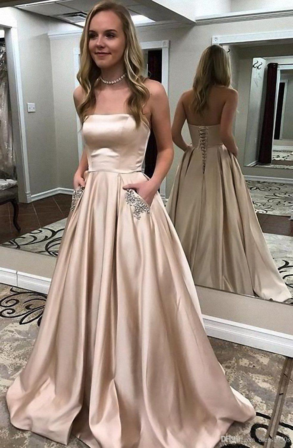 2019 Satin Prom Dresses Long Strapless