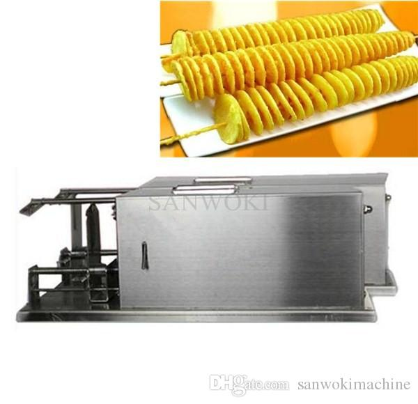 Stainless Steel Fully Automatic stretch Potato Spiral Cutter Fruit Vegetable slice twister machine;Potato Cutter