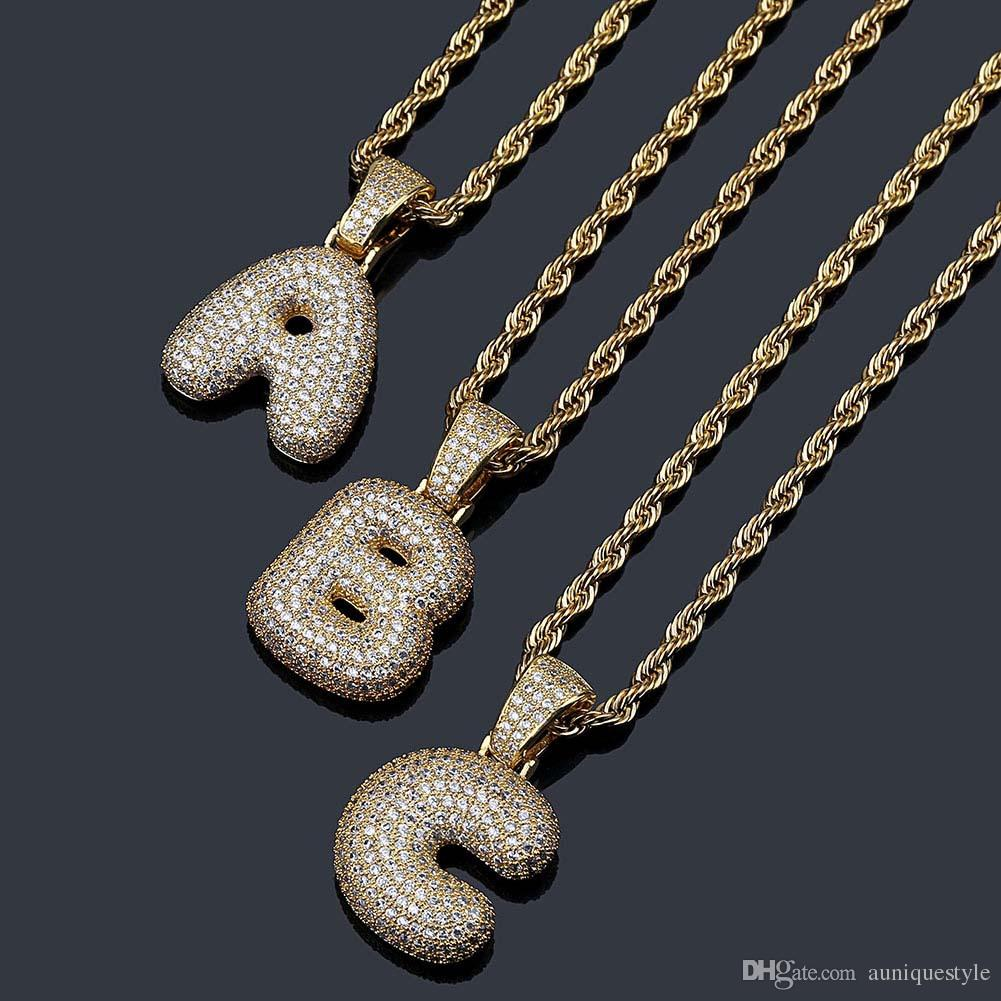 Gold Plated Letters Pendant Necklace Bling Men's Hip Hop Jewelry Gold Silver Copper Cubic Zirconi Bubble Letters Pendant With Twisted Chain