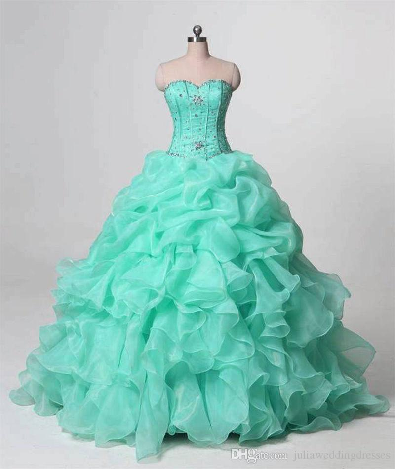 2018 New Beautiful Ball Gown Mint Green Quinceanera Dresses Beaded Crystals For 15 Years Sweet 16 Plus Size Prom Party Gown QC1022
