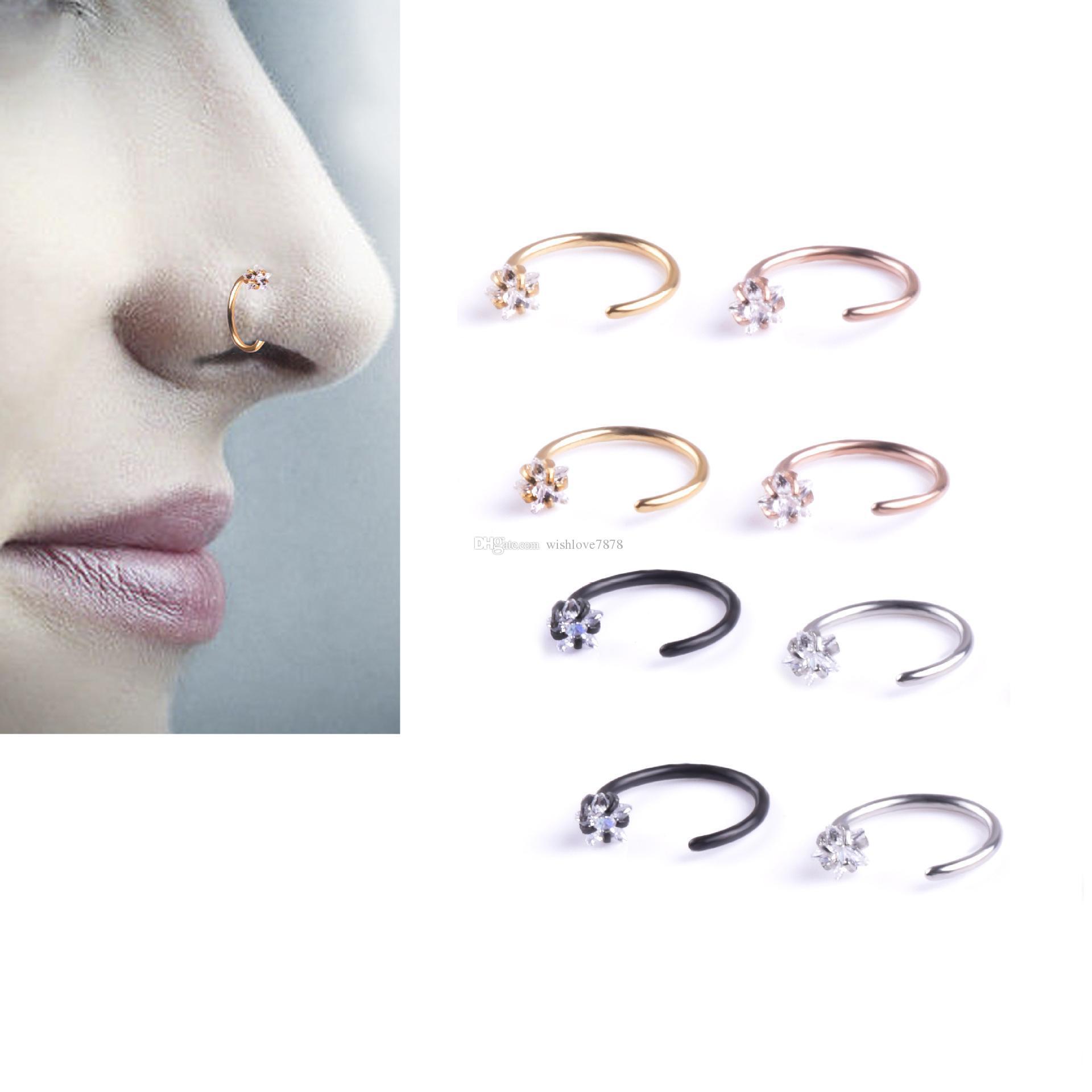 New Star Zircon Nose Hoop brincos Jóias de cartilagem do trago corpo para as Mulheres Homens Anti-alergia C Neck