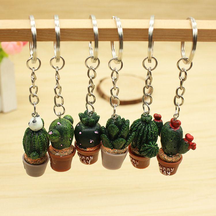 5 unids / lote simulación aleatoria mini planta en maceta llavero cactus resina llaveros bolsa de coche accesorios regalos nave