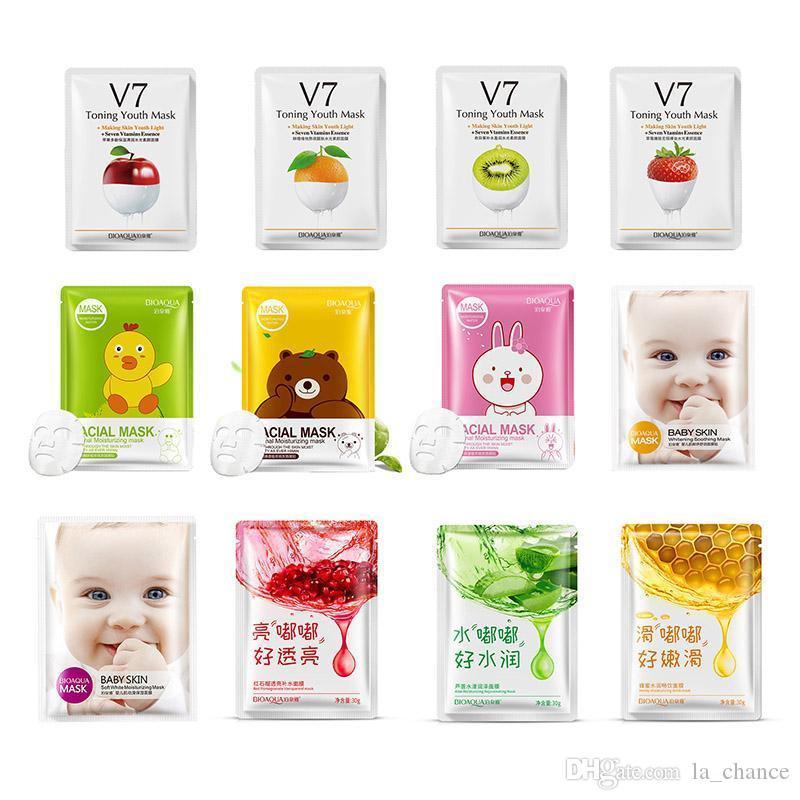 DHL gratuit Bioaqua 12 types Squeeze Masque Feuille Hydratant Face Peau Traitement de la peau Huile Contrôle du visage Masque facial PEELS Soins de la peau Pilate