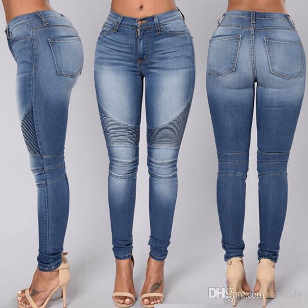 pantalons de taille naturelle de coton de mode sexy jeans skinny élastiques femmes Pantalon de pantalons d'usure de crayon pour les dames